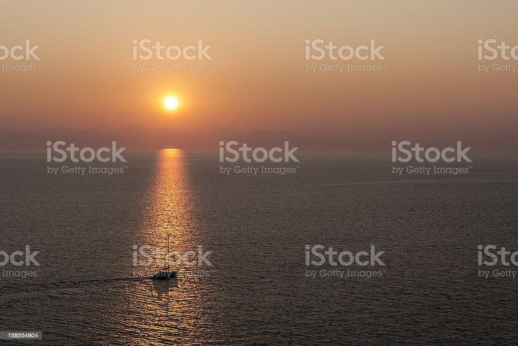 아름다운 석양을 바다빛 royalty-free 스톡 사진