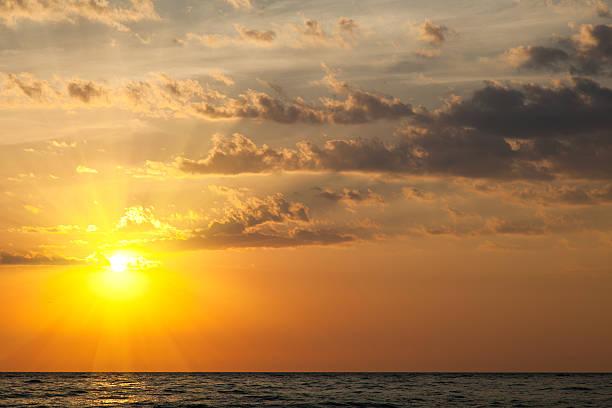Beautiful sunset over the sea stock photo