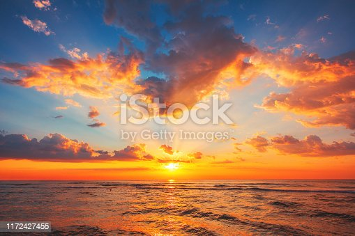 Beautiful sunset over the tropical sea.