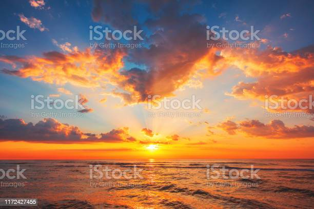 Photo of Beautiful sunset over the tropical sea