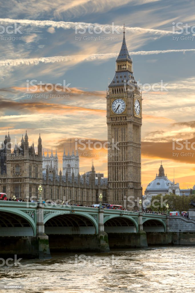 A beautiful sunset over the Westminster Bridge and Big Ben stock photo