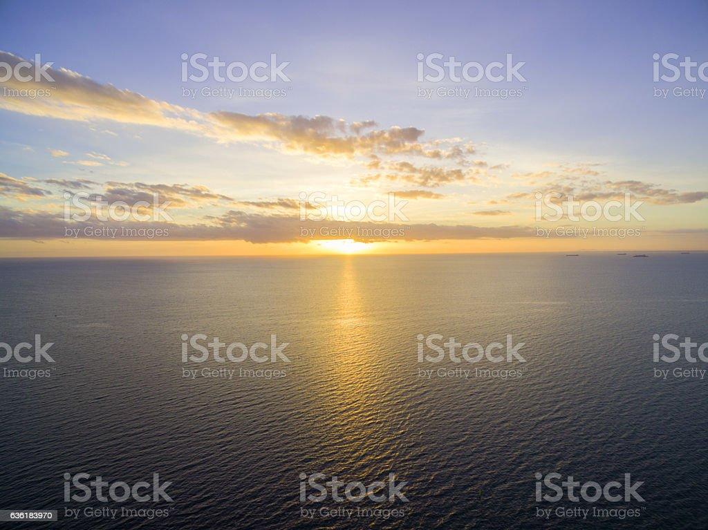 beautiful sunset over water. stock photo
