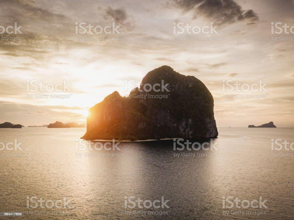 Beautiful Sunset Pinagbuyutan Island El Nido Palawan Philippines royalty-free stock photo