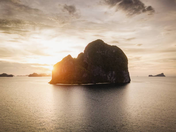 Beautiful Sunset Pinagbuyutan Island El Nido Palawan Philippines Beautiful Sunset at Pinagbuyutan Island Aerial Drone Point of View, El Nido, Palawan Island, Philippines, Asia pinagbuyutan island stock pictures, royalty-free photos & images