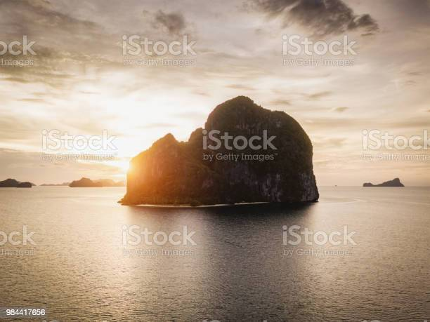 Beautiful Sunset Pinagbuyutan Island El Nido Palawan Philippines Stock Photo - Download Image Now