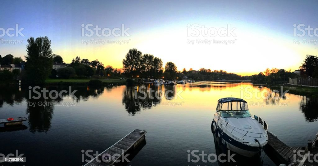 Beautiful Sunset Reflection Over The Water Lough Erne Enniskillen stock photo