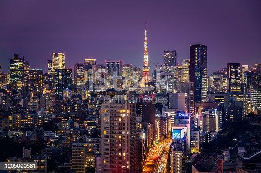 512524478 istock photo Beautiful Sunset Scene of Tokyo Skyline,Japan 1205020561