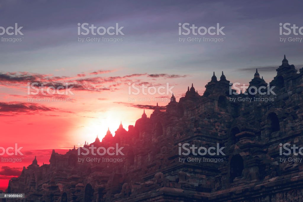 Beautiful sunset seen from top of Borobudur Temple stock photo