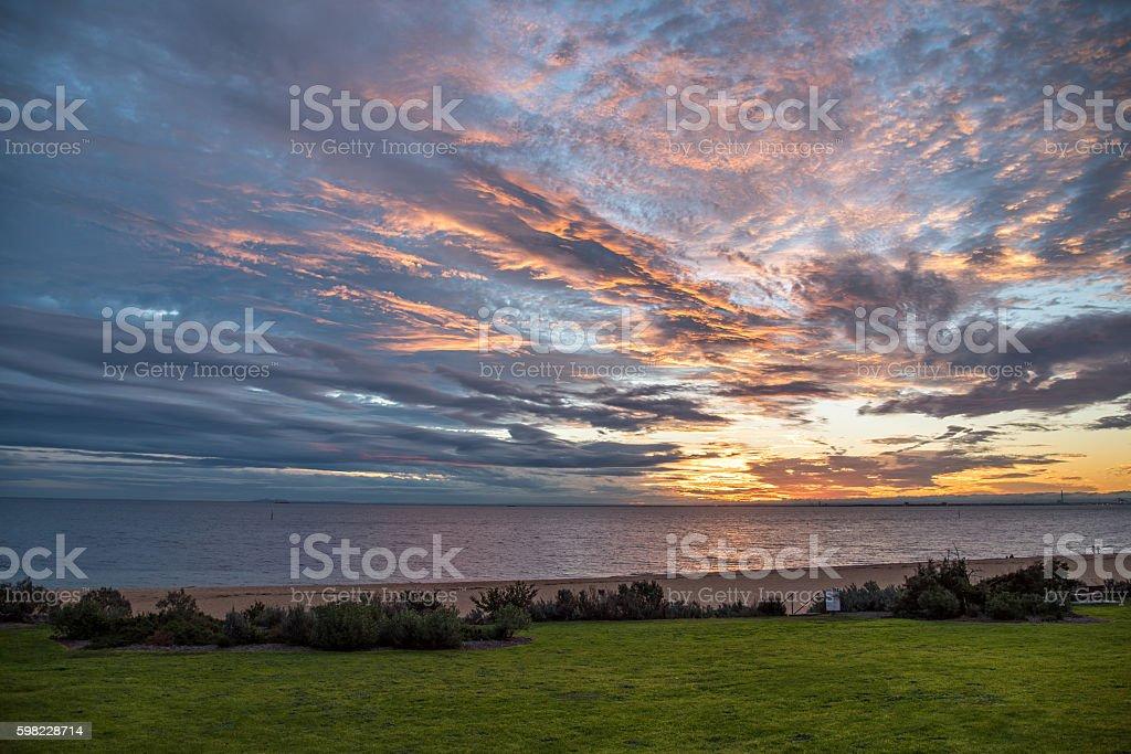beautiful sunset sky, beach and sea foto royalty-free