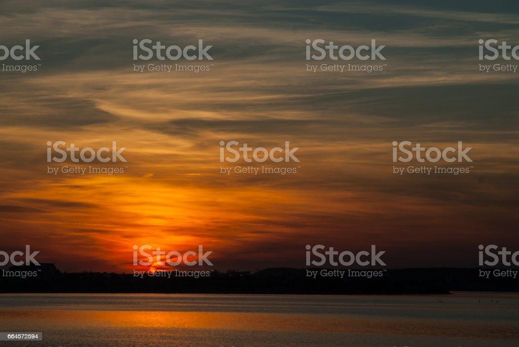 beautiful sunset sky over bucharest lake lacul morii royalty-free stock photo