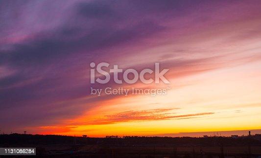 istock Beautiful sunset sky. 1131086284