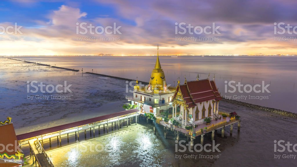 beautiful sunset  top view  thai temple on the sea , landscape thailand stock photo