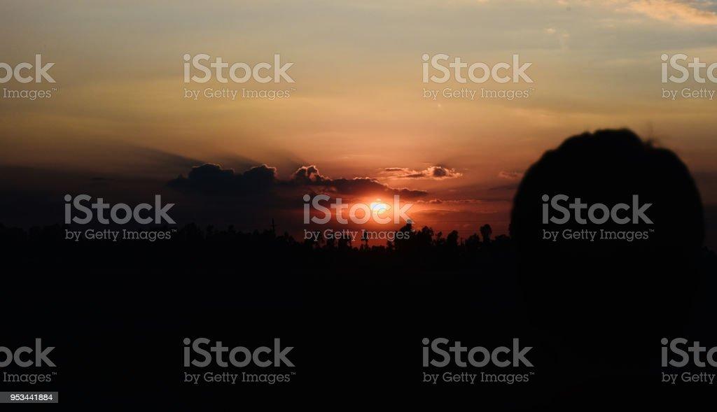 Beautiful sunset unique natural background photo royalty-free stock photo