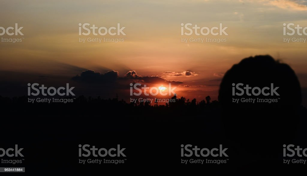 Beautiful sunset unique natural background photo stock photo