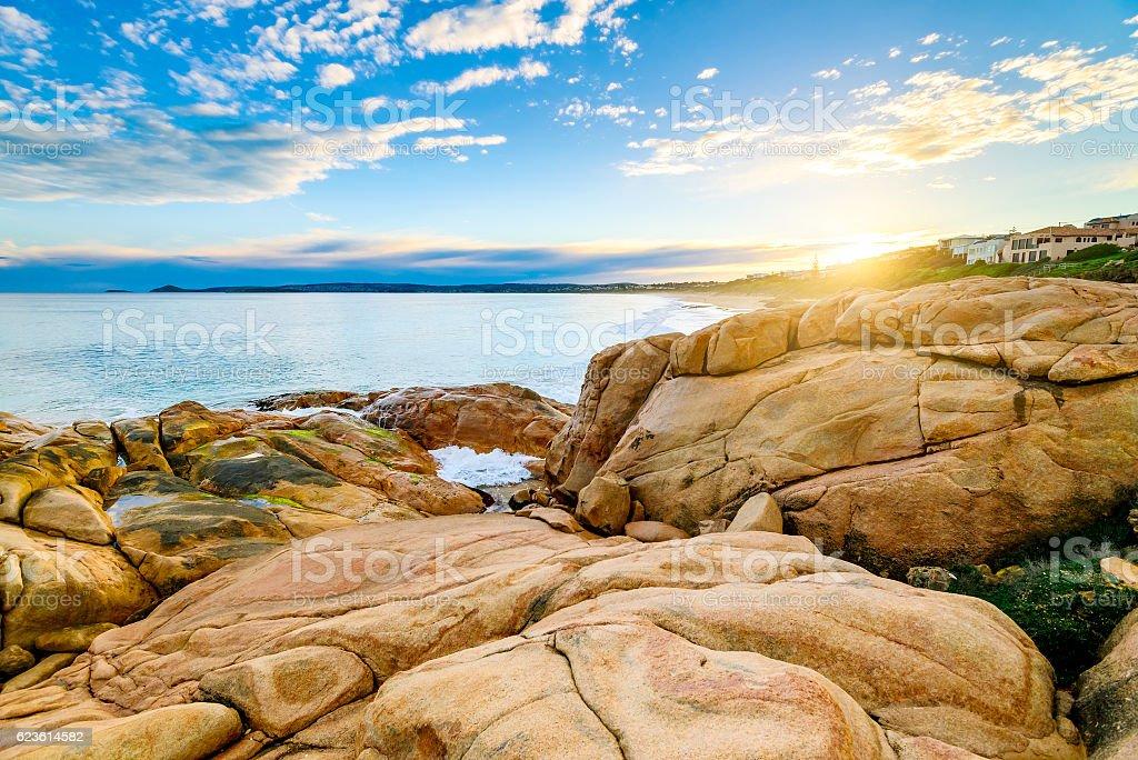 Beautiful sunset view at Port Elliot, South Australia stock photo