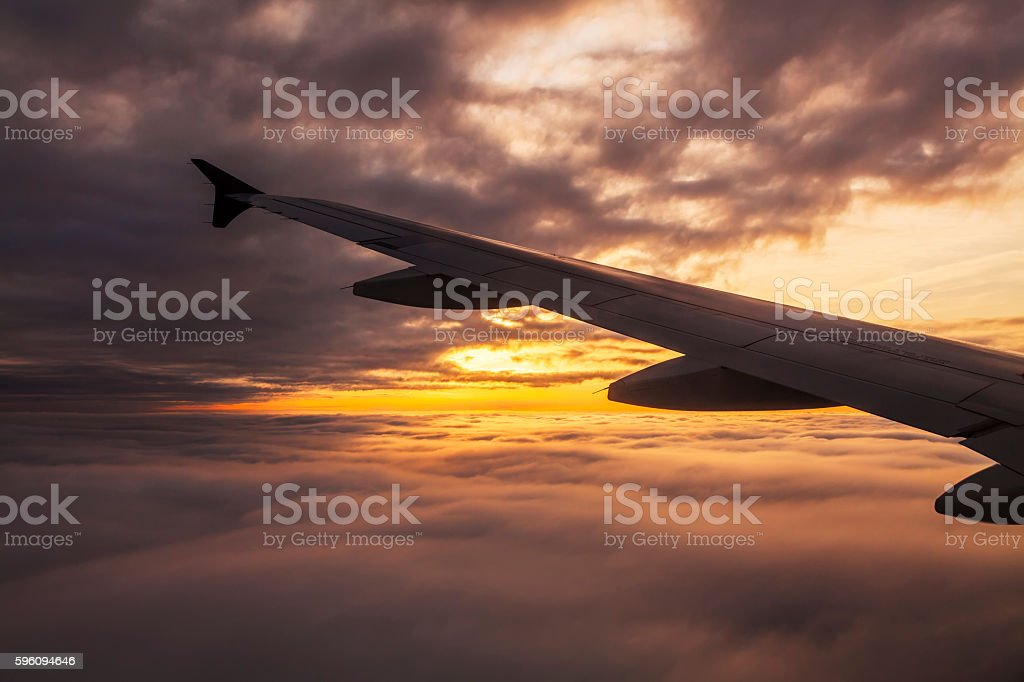 Beautiful sunset. View from the plane window royalty-free stock photo