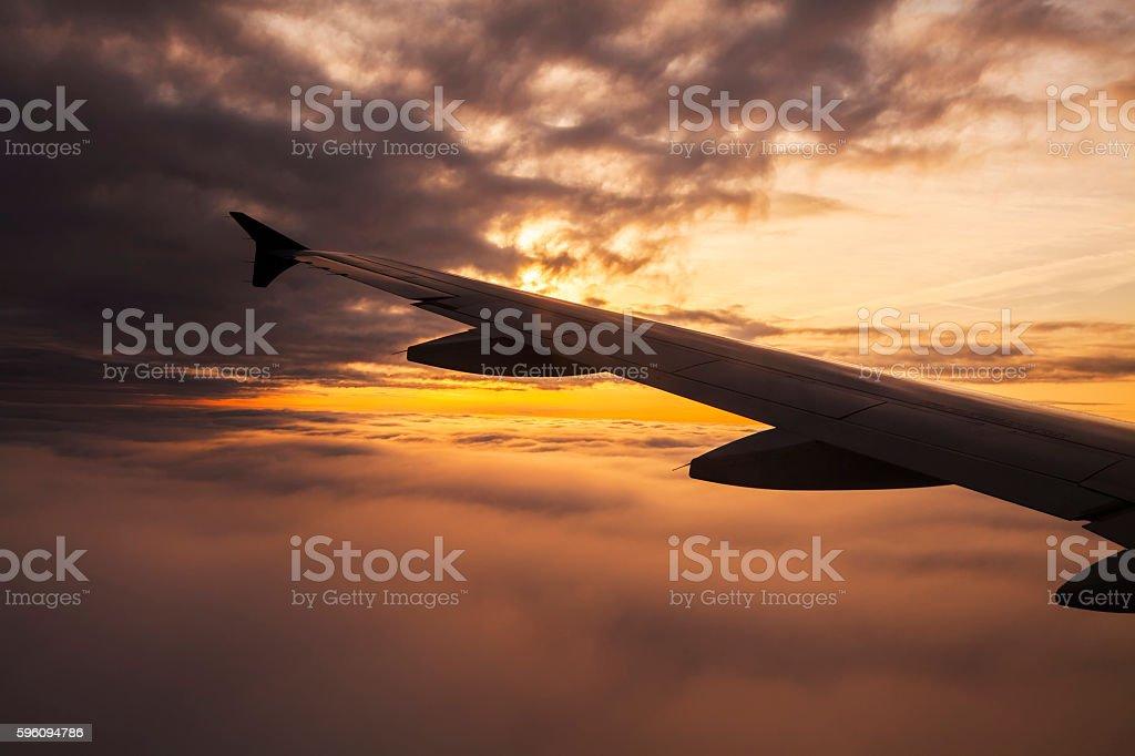 Beautiful sunset. View from the plane window Lizenzfreies stock-foto