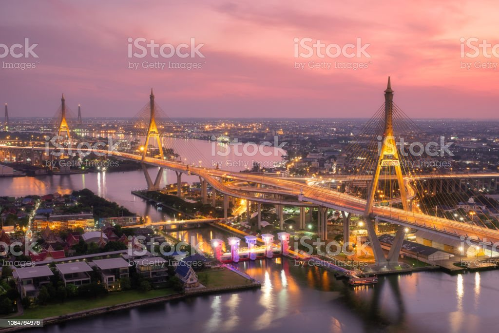 Beautiful Sunset View Of Bhumibol Bridge Bridge Of