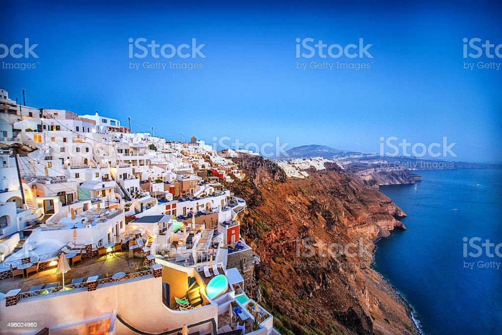 Beautiful Sunset View of Fira, Santorini, Greece stock photo