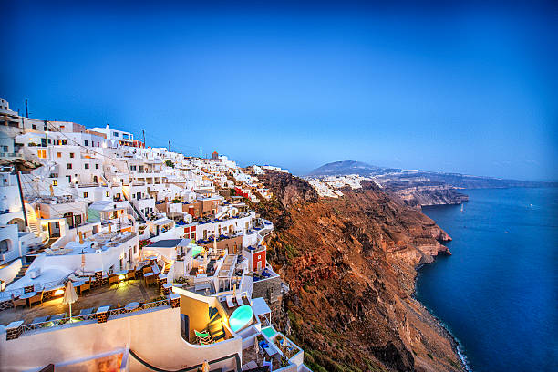 beautiful sunset view of fira, santorini, greece - caldera bildbanksfoton och bilder