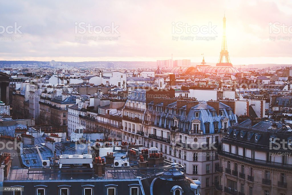 beautiful sunset view of Paris stock photo