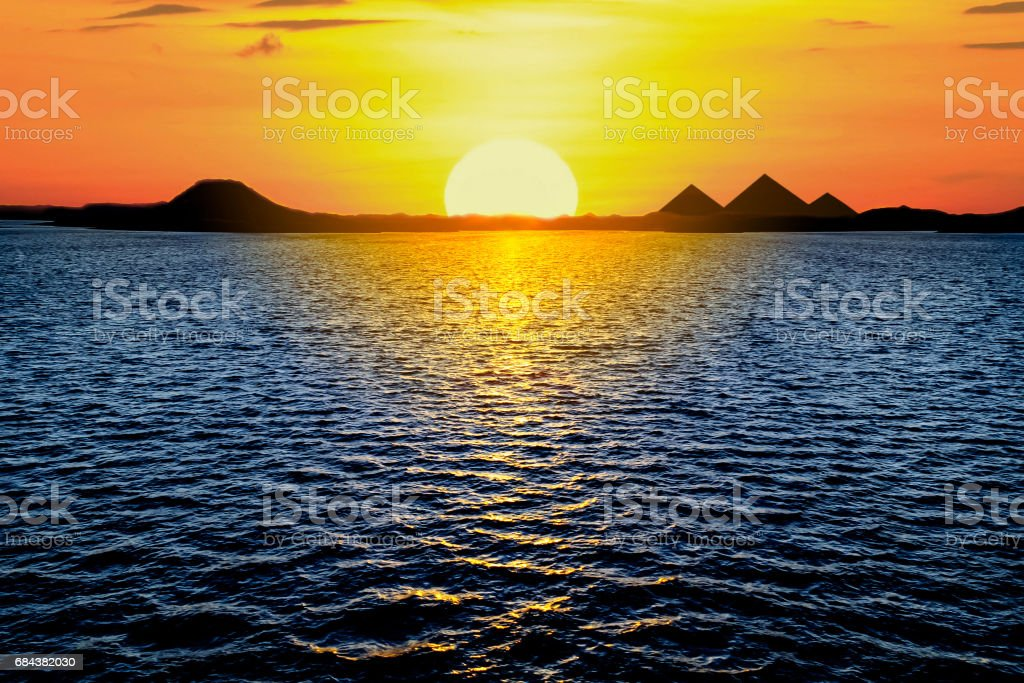 Beautiful Sunset View Of The Egyptian Pyramids stock photo