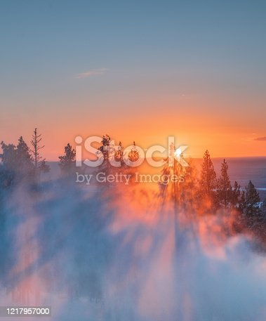 istock Beautiful sunset view on foggy and snowy forest in Lapland, Finland 1217957000