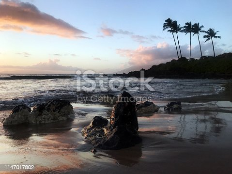 Beautiful sunset, viewed from Polo Beach, in Wailea, Maui, Hawaii.