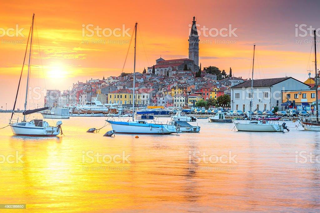 Beautiful sunset with Rovinj harbor,Istria region,Croatia,Europe stock photo