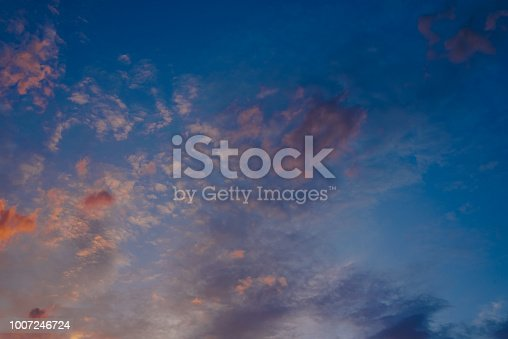 1013154212istockphoto Beautiful sunset with the sun of orange tones behind the mountains and deep blue sky 1007246724