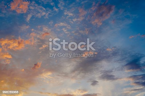 1013154212istockphoto Beautiful sunset with the sun of orange tones behind the mountains and deep blue sky 998289968