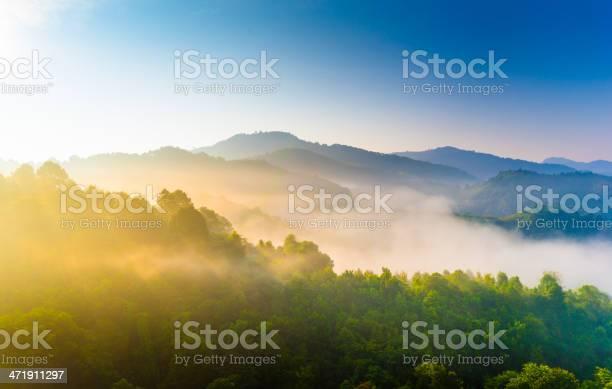 Photo of Beautiful sunshine at misty morning mountains .