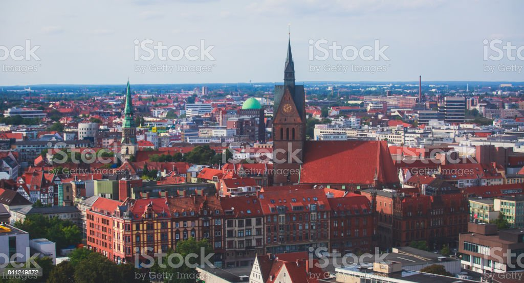 Beautiful super wide-angle summer aerial view of Hannover, Germany, Lower Saxony, seen from observation deck of New Town Hall, Hanover stock photo