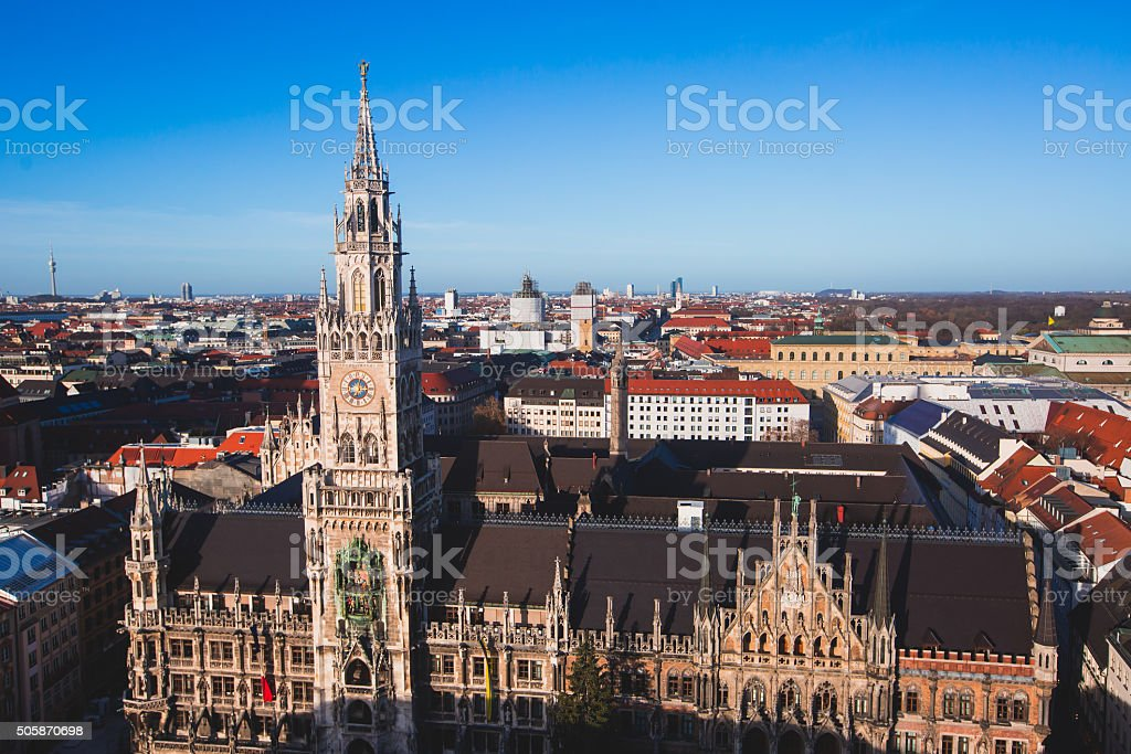 Beautiful super wide-angle sunny aerial view of Munich, Bayern, Bavaria stock photo