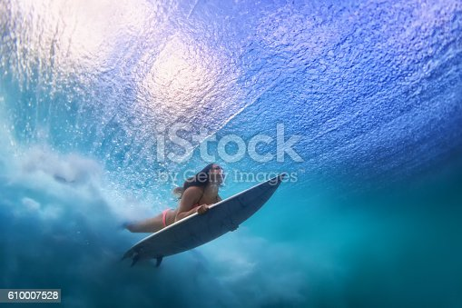 istock Beautiful surfer girl diving under water with surf board 610007528