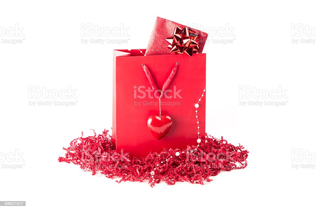 Beautiful Surprise Present Bag With A Symbol Of Love Heart Stock