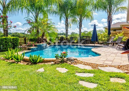 A beautiful backyard swimming pool in Florida.