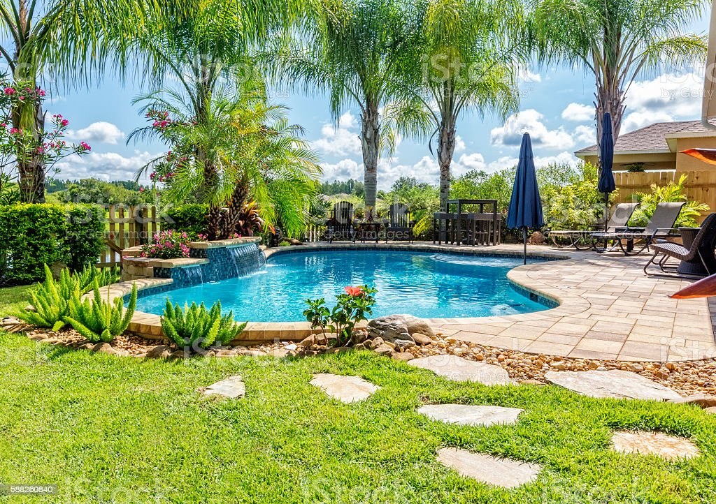 Beautiful Swimming Pool and Back Yard stock photo