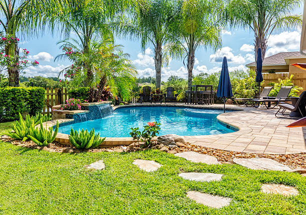 Beautiful Swimming Pool and Back Yard A beautiful backyard swimming pool in Florida. backyard pool stock pictures, royalty-free photos & images