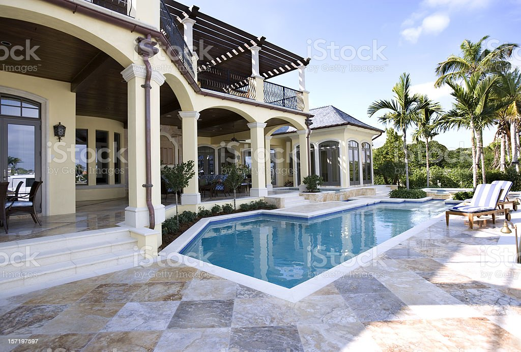 Beautiful Swimming Pool and Patio at an Estate Home stock photo
