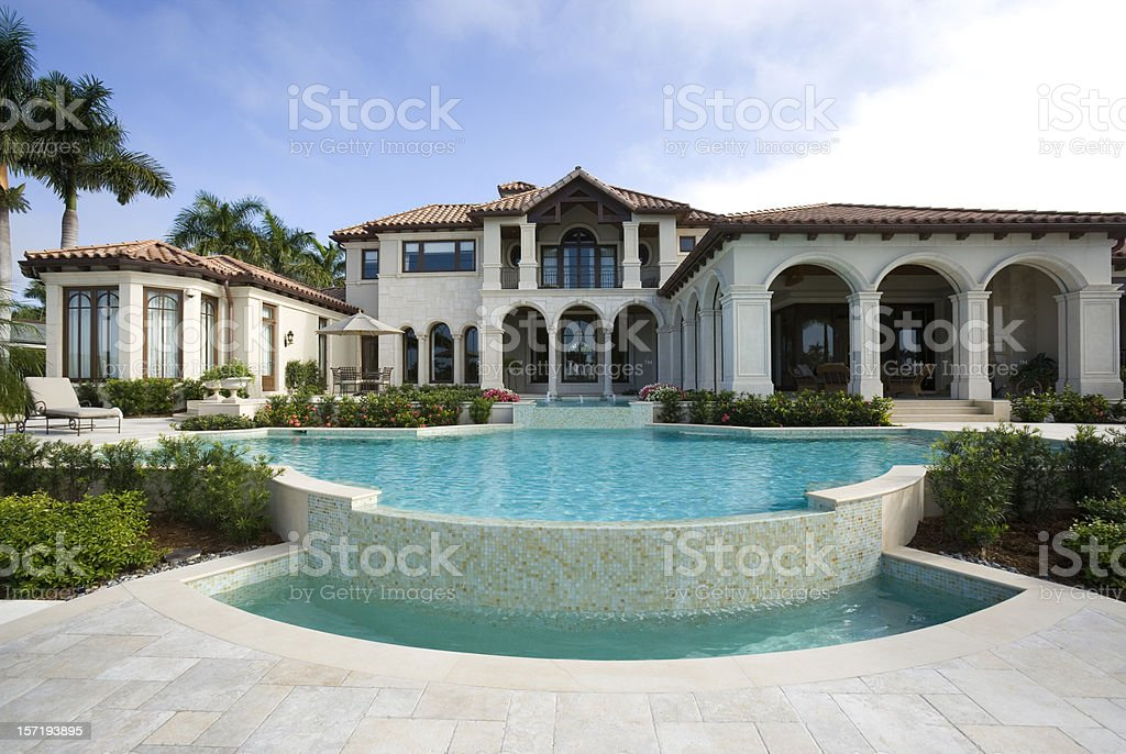 Beautiful Swimming Pool at an Estate Home stock photo