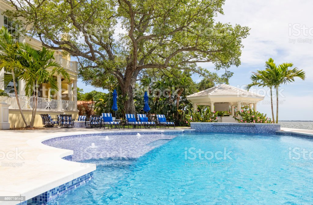 Beautiful Swimming Pool At An Estate Home With Gazebo Stock ...