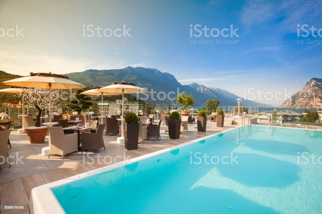 Beautiful Swimming Pool in Luxury Hotel stock photo