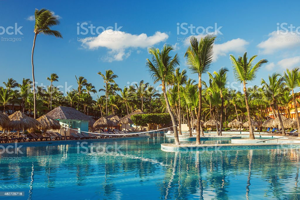 Beautiful swimming pool in tropical resort , Punta Cana, Dominic royalty-free stock photo