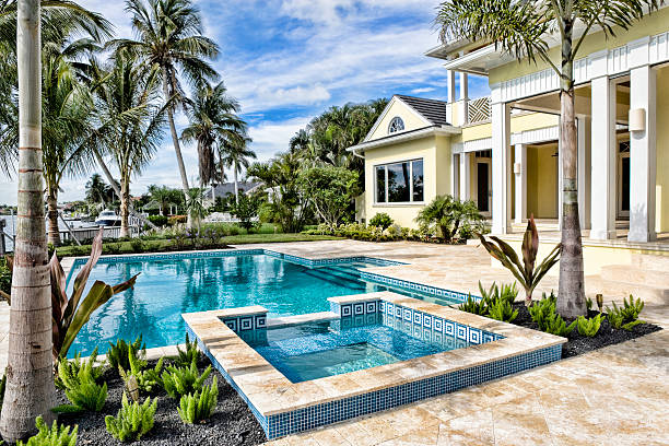 Beautiful Swimming Pool with Spa at an Estate Home stock photo