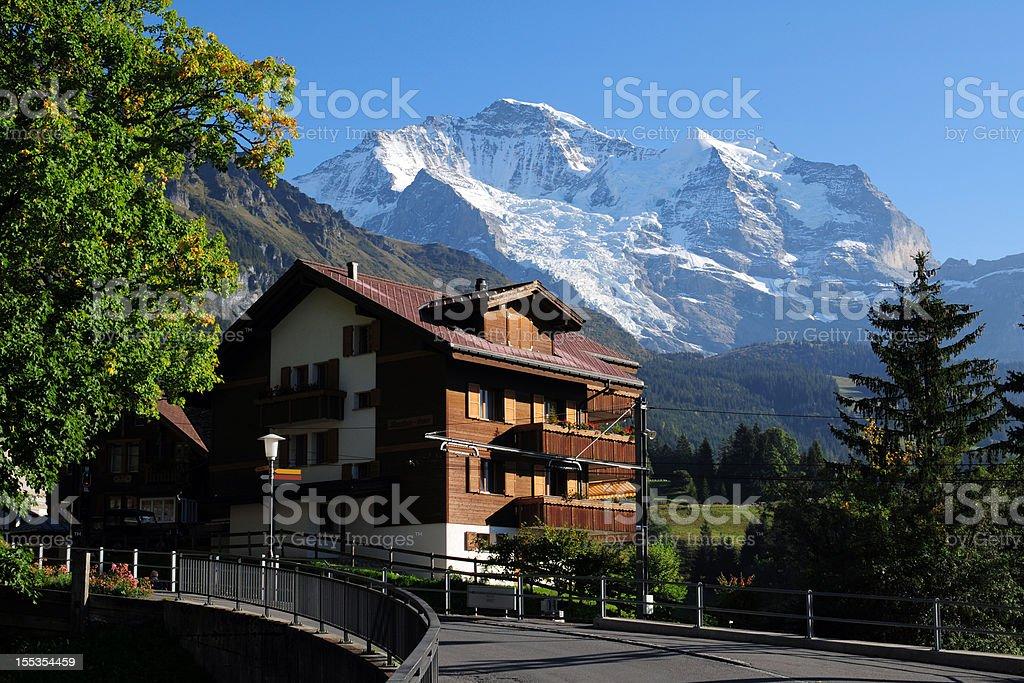 Beautiful Swiss House and Landscape - XLarge royalty-free stock photo