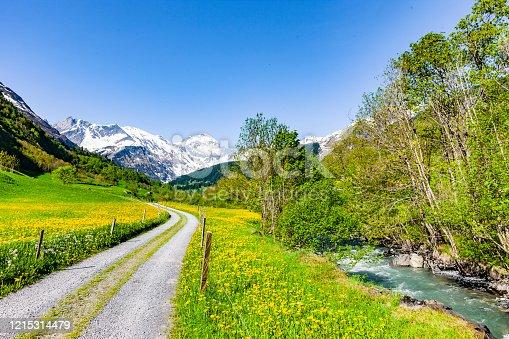 Beautiful Swiss mountain landscape in spring