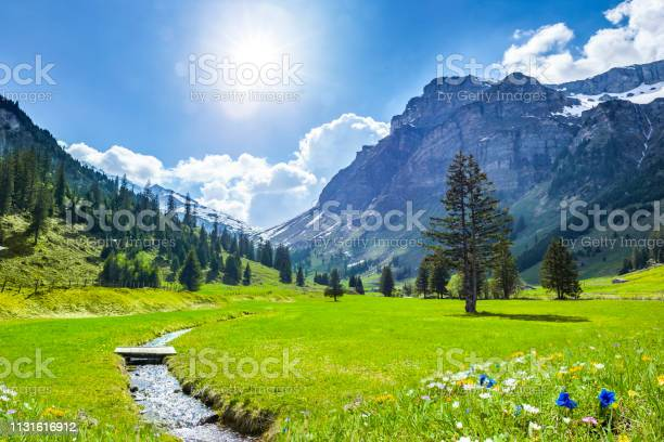Photo of Beautiful Swiss Mountains in Springtime