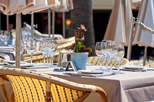 Beautiful table setting in an outdoor restaurant