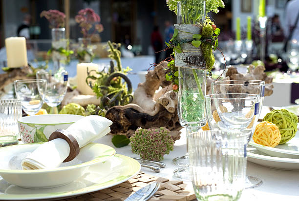 beautiful table setting stock photo